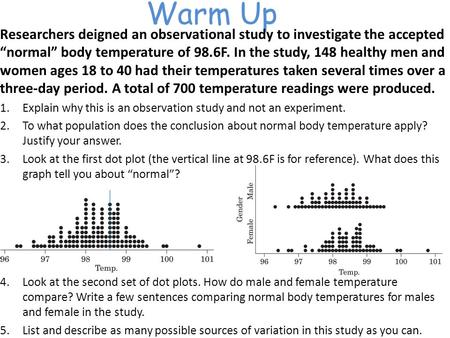 "Warm Up Researchers deigned an observational study to investigate the accepted ""normal"" body temperature of 98.6F. In the study, 148 healthy men and women."