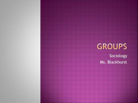 Sociology Ms. Blackhurst.  Introduction to Groups PowerPoint  Discuss key items, complete class activities  HW: Group Web.