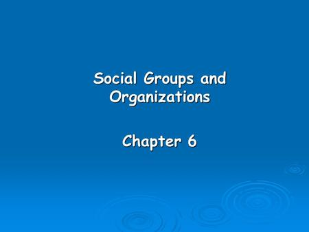 Social Groups and Organizations Chapter 6. Learning Objectives  Distinguish between primary and secondary groups.  Explain the functions of groups.