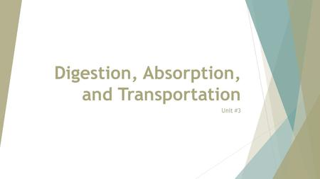 Digestion, Absorption, and Transportation Unit #3.