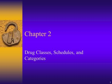 1 Chapter 2 Drug Classes, Schedules, and Categories.