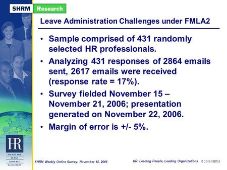 HR: Leading People, Leading Organizations © 2006 SHRM SHRM Weekly Online Survey: November 15, 2006 Leave Administration Challenges under FMLA2 Sample comprised.