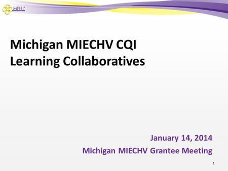 Michigan MIECHV CQI Learning Collaboratives January 14, 2014 Michigan MIECHV Grantee Meeting 1.