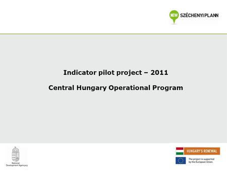 Indicator pilot project – 2011 Central Hungary Operational Program.