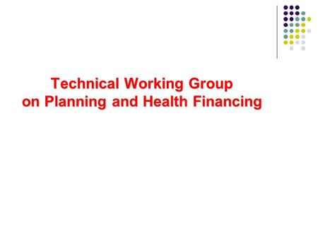 Technical Working Group on Planning and Health Financing.