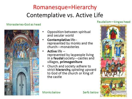 Romanesque=Hierarchy Contemplative vs. Active Life Opposition between spiritual and secular world Contemplative life-- represented by monks and the church---monasteries.