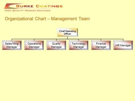 Organizational Chart – Management Team Chief Operating Officer Sales/Mktg Manager Operations Manager Quality Manager Technology Manager Finance Manager.