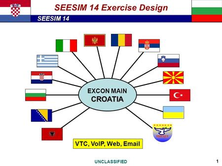 SEESIM 14 UNCLASSIFIED 1 CROATIA EXCON MAIN CROATIA Zagreb, August 2013 CAF GS, Command Operations Centre VTC, VoIP, Web, Email SEESIM 14 Exercise Design.