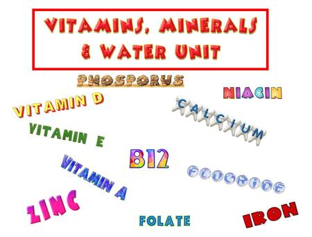 Intro to Vitamins, Minerals & Water 1. What is the main function of vitamins and minerals? To regulate body functions 2. What foods are a lot of the vitamins.