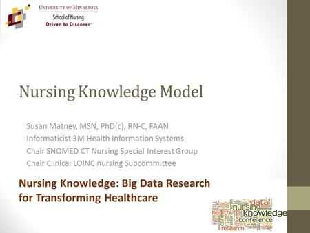 Nursing Knowledge Model Susan Matney, MSN, PhD(c), RN-C, FAAN Informaticist 3M Health Information Systems Chair SNOMED CT Nursing Special Interest Group.