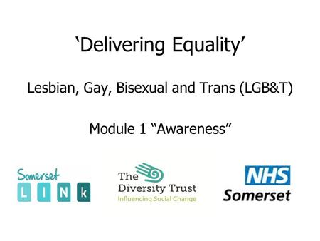 "'Delivering Equality' Lesbian, Gay, Bisexual and Trans (LGB&T) Module 1 ""Awareness"""