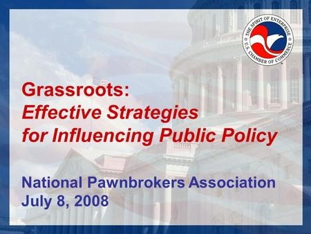 Grassroots: Effective Strategies for Influencing Public Policy National Pawnbrokers Association July 8, 2008.