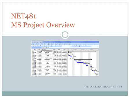 TA. MARAM AL-KHAYYAL NET481 MS Project Overview. Outline Introduction to project management.  Project 2007 can help you manage project time, resources,