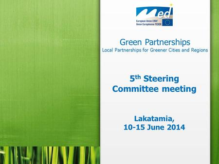Green Partnerships Local Partnerships for Greener Cities and Regions 5 th Steering Committee meeting Lakatamia, 10-15 June 2014.