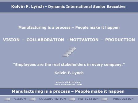 Kelvin F. Lynch - Dynamic International Senior Executive Manufacturing is a process – People make it happen VISION COLLABORATION MOTIVATION PRODUCTION.