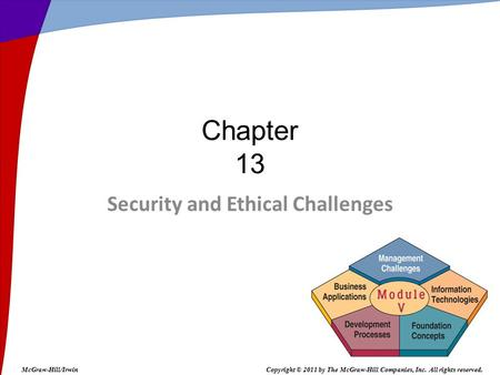 Security and Ethical Challenges Chapter 13 McGraw-Hill/IrwinCopyright © 2011 by The McGraw-Hill Companies, Inc. All rights reserved.