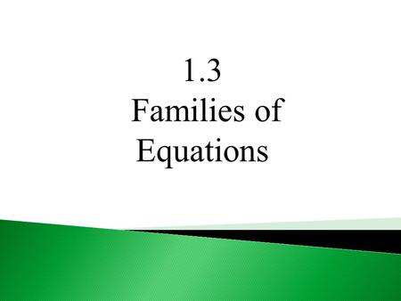 1.3 Families of Equations. What families of graphs have your studied? Linear Absolute Value Quadratic Square Root Cubic Cube Root.