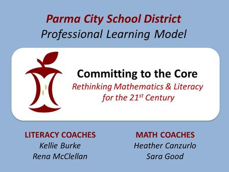 Parma City School District Professional Learning Model Committing to the Core Rethinking Mathematics & Literacy for the 21 st Century LITERACY COACHES.