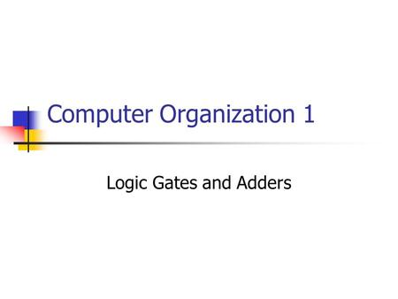Computer Organization 1 Logic Gates and Adders. Propositions –Venn Diagrams.