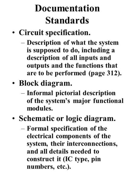 Documentation Standards Circuit specification. –Description of what the system is supposed to do, including a description of all inputs and outputs and.
