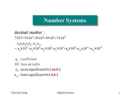 Yuh-Jzer JoungDigital Systems1 Number Systems decimal number : 7397=7×10 3 +3×10 2 +9×10 1 +7×10 0 a 4 a 3 a 2 a 1 a 0. a -1 a -2 = a 4 ×10 4 +a 3 ×10.