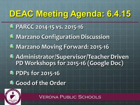 Verona Public Schools DEAC Meeting Agenda: 6.4.15 PARCC 2014-15 vs. 2015-16 Marzano Configuration Discussion Marzano Moving Forward: 2015-16 Administrator/Supervisor/Teacher.