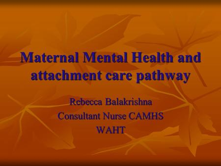Maternal Mental Health and attachment care pathway