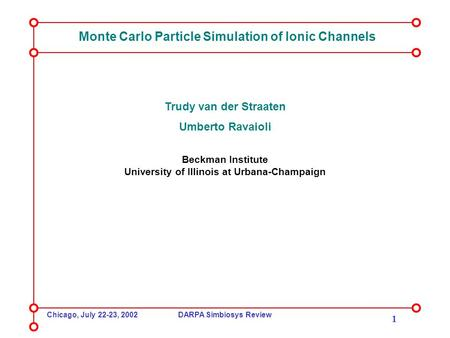 Chicago, July 22-23, 2002DARPA Simbiosys Review 1 Monte Carlo Particle Simulation of Ionic Channels Trudy van der Straaten Umberto Ravaioli Beckman Institute.