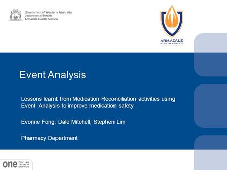 Event Analysis Lessons learnt from Medication Reconciliation activities using Event Analysis to improve medication safety Evonne Fong, Dale Mitchell, Stephen.