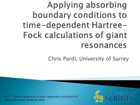 Chris Pardi, University of Surrey ECT* Trento, Advances in time-dependent methods for quantum many-body systems.