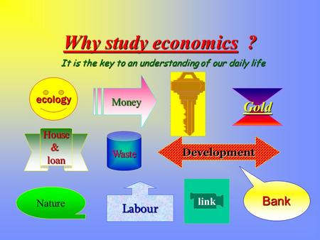 It is the key to an understanding of our daily life ecology Waste Gold House&loan Bank linkMoney Nature Development Labour Why study economics ?