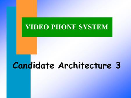 VIDEO PHONE SYSTEM Candidate Architecture 3. Block Diagram of Video Phone System (Top Level) Camera LCD Video Processor Flash Memory Video controller.