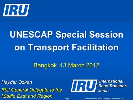 UNESCAP Special Session on Transport Facilitation