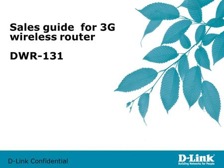 D-Link Confidential Sales guide for 3G wireless router DWR-131.