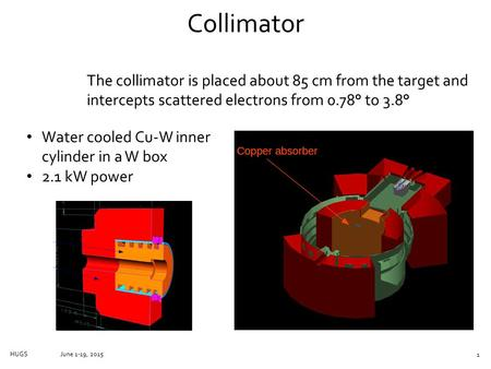 Collimator June 1-19, 2015HUGS The collimator is placed about 85 cm from the target and intercepts scattered electrons from 0.78° to 3.8° Water cooled.
