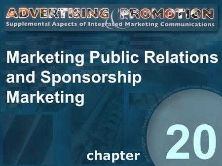 Marketing Public Relations and Sponsorship Marketing 20.