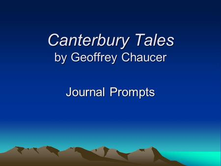 Canterbury Tales by Geoffrey Chaucer Journal Prompts.