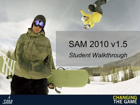 SAM 2010 v1.5 Student Walkthrough. Initial Set Up 1.Ensure that you are connected to the Internet. 2.Launch your web browser (Internet Explorer 7 or 8,