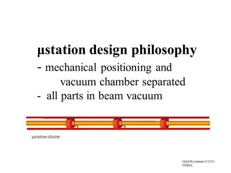 Matti Ryynänen 151104 NOKIA μstation design philosophy - mechanical positioning and vacuum chamber separated - all parts in beam vacuum μstation cluster.