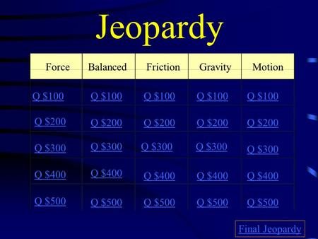 Jeopardy ForceBalancedFrictionGravity Motion Q $100 Q $200 Q $300 Q $400 Q $500 Q $100 Q $200 Q $300 Q $400 Q $500 Final Jeopardy.