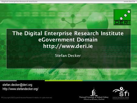  Copyright 2008 Digital Enterprise Research Institute. All rights reserved. Digital Enterprise Research Institute www.deri.ie The Digital Enterprise Research.