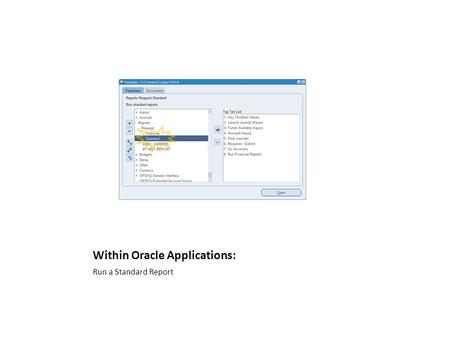 Within Oracle Applications: Run a Standard Report.