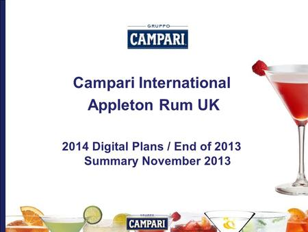 Campari International Appleton Rum UK 2014 Digital Plans / End of 2013 Summary November 2013.