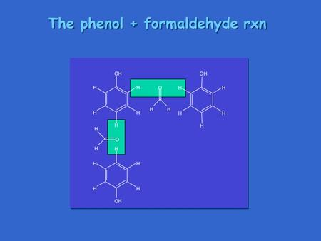 The phenol + formaldehyde rxn. Network formation Further reaction under heat & pressure builds up densely cross-linked network. This is Bakelite, a thermosetting.