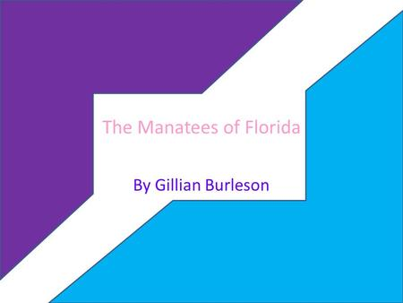 The Manatees of Florida By Gillian Burleson. TITLE,AUTHOR and GENRE The Title of this book is The Manatees of Florida The Author of this book is Bill.