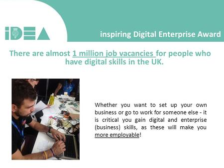 Inspiring Digital Enterprise Award There are almost 1 million job vacancies for people who have digital skills in the UK. Whether you want to set up your.