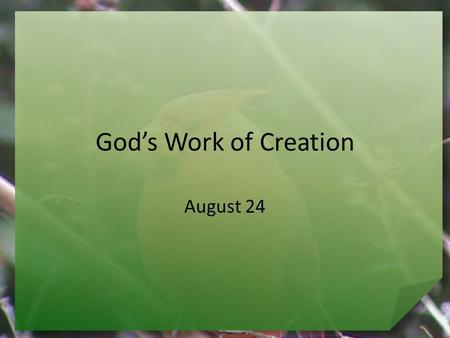 God's Work of Creation August 24. What about you … What have you always wanted to make but never tried? We are creative because we are made in the image.