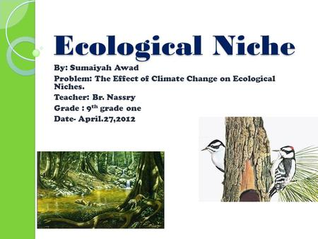 Ecological Niche By: Sumaiyah Awad Problem: The Effect of Climate Change on Ecological Niches. Teacher: Br. Nassry Grade : 9 th grade one Date- April.27,2012.