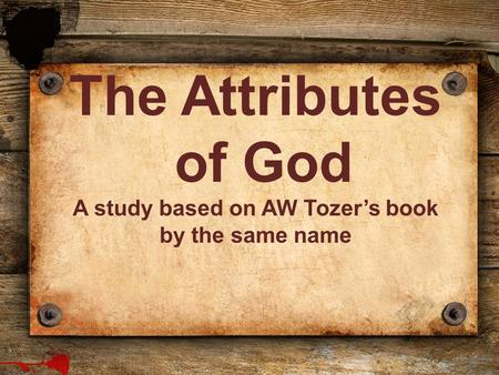 A study based on AW Tozer's book