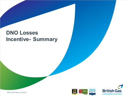 © British Gas Trading Limited 2011 DNO Losses Incentive- Summary.